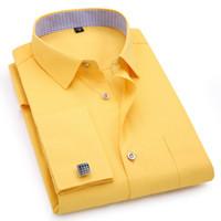 camisas comerciais amarelas venda por atacado-Mens abotoaduras francês mangas compridas camisas preto branco azul amarelo lapela masculino camisa de vestido de negócios fit festa de casamento dos homens clothin