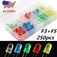ingrosso generi luci principali-250x 3 millimetri 5 millimetri 2 pin Rosso Giallo Verde Blu diodo luminescente LED tipi Toolkit