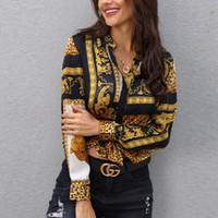 frauen bluse gold großhandel-Die nähenden Oberseiten der heißen Verkaufsfrauen arbeiten Roman gedrucktes reizvolles Pers5onlichkeit-Blusenhemd des langärmeligen Hemdes um Freies Verschiffen