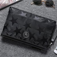 Wholesale style cloth handbag for sale - Group buy men handbag waterproof Oxford cloth men hand clutch stars printed fashion envelope personality hardware decoration storage wallet