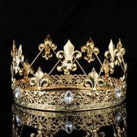 imparatorluk kronu taç toptan satış-Erkek İmparatorluk Ortaçağ Altın Kral Fleur De Lis Kral Taç Tiara Kristal Rhinestone Dekor Tam Yuvarlak Erkekler Diadem Parti Kostümleri