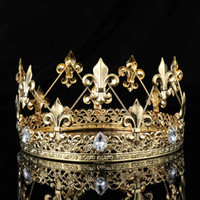 tiara coroa imperial venda por atacado-Medieval dos homens Imperial Ouro Rei Fleur De Lis Rei Coroa Tiara Strass Cristal Decor Full Rodada Homens Trajes Do Partido Diadem