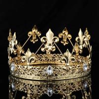 Wholesale imperial crown tiara resale online - Men s Imperial Medieval Gold King Fleur De Lis King Crown Tiara Crystal Rhinestone Decor Full Round Men Diadem Party Costumes