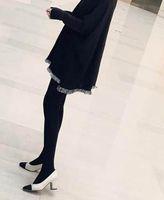 ingrosso blocco design-saldi! b092 nero / beige 34/40 in vera pelle abbinata a tacco largo tacco c pompa di design scarpe da lavoro vintage classiche di lusso