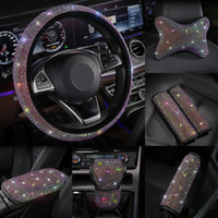 Wholesale car accessories gear for sale - Group buy Colorful Rhinestones Crystal Car Seat belt cover pad Gear Shift Set Diamond Steering wheel cover Auto Interior accessories Kit