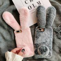 Wholesale hair brown korean for sale - Group buy For iPhone Pro Max Korean Hand Warmer Rabbit Hair Phone Case Cute Plush All inclusive Case