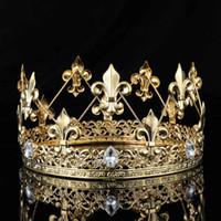 Wholesale imperial crown tiara for sale - Group buy Men s Imperial Medieval Gold King Fleur De Lis King Crown Tiara Crystal Rhinestone Decor Full Round Men Diadem Party