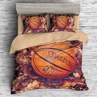 conjuntos de cama queen para meninos venda por atacado-Impressão de basquete 3d conjunto de cama de luxo esporte Capa de Edredão set queen size menino Bed Set Drop Shipping