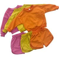 pantalones cortos de bebé niño al por mayor-Conjunto de algodón de primavera para niños, niñas, niñas, bebés, niños, chándales, niños, ropa deportiva, jersey de manga larga, pantalones cortos, niños