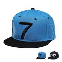 bonés de futebol preto venda por atacado-New Fashion Cristiano Ronaldo CR7 preto de beisebol azul Caps hip hop Sports Snapback Futebol Hat sombrero para el sol das mulheres dos homens