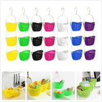 Wholesale vegetable storage baskets resale online - 7 colors hanging storage basket kitchen vegetable fruit basket shower caddy bath rack plastic hanging over tidy shower organizer