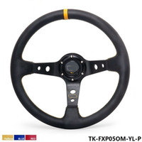 Tansky - High Quality 350MM PVC Racing Aluminum Frame Light Weight 6-Hole Steering Wheel Modified Jdm Sport ( yellow red blue )TK-FXP05OM-P