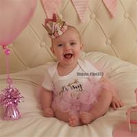 bebek prenses taç kafa bandı toptan satış-Doğum günü Yenidoğan Taç Kafa Altın Prenses Taç Bebek Kız Sevimli Saç Bandı Çocuk Fotoğraf Sahne Bebek Çocuk Saç Aksesuarları