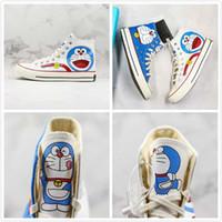 Wholesale doraemon cute cartoon resale online - Cute DORAEMON X Convase s Canvas Shoes Cartoon White Blue High Limited Casual Sneakers Fashion Designer Shoes
