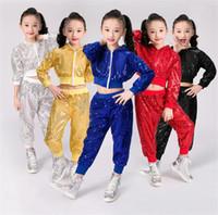hip hop niños bailando al por mayor-Nuevos Niños Niñas Lentejuelas Traje de baile de jazz Traje de baile hip hop Traje de ropa de baile callejero Conjunto Escenario Disfraz