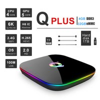 Wholesale 4gb android tv box online - Q Plus Allwinner H6 Smart Android TV Box GB GB K H USB3 IPTV PK X96 MAX Set Top Box