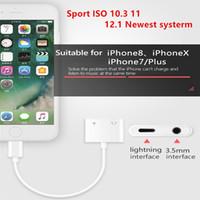 aydınlatma kulaklıkları toptan satış-2 in 1 Çift Kulaklık Ses Adaptörü iphone X XS Max IOS 12.1 Için aydınlatma için 3.5mm Jack Aux Şarj