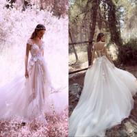 escovar vestidos de noiva venda por atacado-V neck mangas curtas vestidos de noiva boho com corpete de renda escova trem magro vestidos de casamento sheer voltar vestidos de noiva custom made