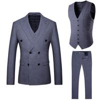 ingrosso ora si veste-Abiti da uomo sono ora popolari vestito grigio a tre pezzi del vestito casuale a doppio petto degli uomini nuovi (giacca + pantaloni + gilet) abito formale da banchetto