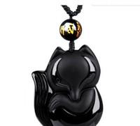 estátua de dragão de jade venda por atacado-Moda Preto Dragão Phoenix Pingente Natural Mão-esculpida Colar de Obsidiana Fine Jade Estátuas Jóias Para Mulheres Homens Livre Corda