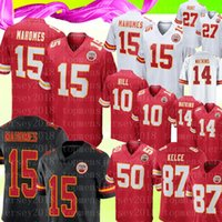jerseys de fútbol 14 al por mayor-Chiefs 15 Patrick Mahomes Jersey Kansas City Chief 10 Tyreek Hill 27 Kareem Hunt 87 Travis Kelce 50 Houston 14 Camisetas de fútbol Watkins