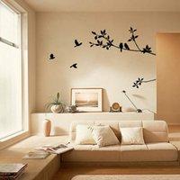 ingrosso gli autoadesivi della parete del vinile uccelli dell'albero nero-Tree Branch Black Bird Wall Art Stickers Removable decalcomania del vinile della parete della casa della decorazione domestica