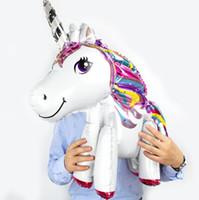 ingrosso feste di compleanno di animali-3d Unicorn Balloon Foil Balloon per le decorazioni della festa di compleanno Kids Toys balloon 6 design KKA6883