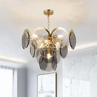 Wholesale art glass chandelier lighting resale online - Post modern light luxury chandelier cognac glass crystal art lamp simple personality smoke gray glass living room hanging lamp