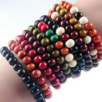 pulseras de cuentas personalizadas al por mayor-Charm Bracelets venta al por menor brazalete personalizado brazalete de cuentas de madera coloridas pulseras