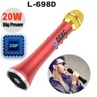 micrófono profesional canta al por mayor-L-698D profesional 20W Bluetooth inalámbrico portátil karaoke micrófono altavoz 4000mAh con gran potencia para cantar / reunión