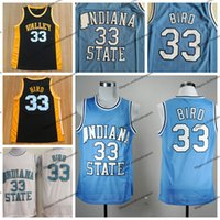 ingrosso uccelli blu-Mens Indiana State Sycamores Larry Bird # 33 Pullover di pallacanestro college Baby Blue Vintage Larry Bird Valley High School cucita camicie S-XXL