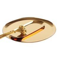 escritorio de oro al por mayor-Bandejas Redondas de Acero inoxidable Bandeja de Almacenamiento de Té de Frutas Bandeja de Decoración Del Hogar Plato de Oro Sirviendo Contenedor de Alimentos Organizador de Cocina