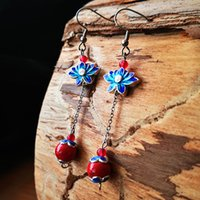 punho de orelha indiano venda por atacado-Explosão modelos novos originais brincos de cerâmica com jade cloisonne azul azul étnica jóias requintado fornecimento de jóias
