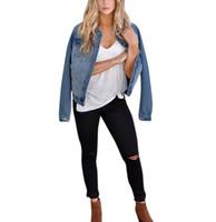 jacke jeans perlen großhandel-Neue Herbst Frauen Casual Fashion Denim Jacke Lange Jean Mantel Perle Wild Outwear Klassische Jean Mantel Jaqueta Jeans Femina # E