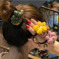 hilo de goma al por mayor-2019 nueva manera colores lindos del caramelo de la flor de Hilados de lana de pelo pelo anillo de goma Bandas joyería del pelo F2043