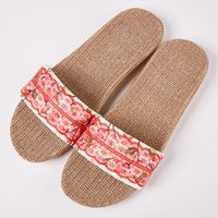 ingrosso pantofole nere sexy-New Summer European Lace Lace Bottom Slippers Female Indoor Home Sexy Black Red Floor Scuffs Ragazze Donna Lady Love Flip Flop