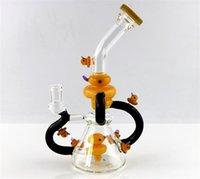 ingrosso decori dell'acqua-nuova tubatura dell'acqua in vetro famliy con anatra gialla, bong in vetro riciclato. bong in vetro decorato con otto anatre, vasca da 14 mm con altezza di 14 mm
