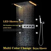 körpermassage duschdüsen großhandel-Badezimmer Multi Color Decke Dusche Wasserhahn Set LED Regendusche 360x500, Body Jets Spray Massage Komplettset
