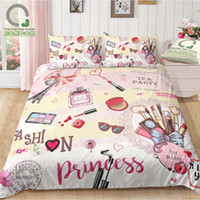 Wholesale home collection bedding resale online - BOMCOM D Digital Printing Duvet Cover Set Makeup Cosmetic Collections Modern Lady Fashion Girl Perfume Lipstick Bedding Set