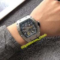 relógios mens 52mm venda por atacado-Luxry 52mm Novo RM030 Esqueleto Black Dial Caso Prata Japão Miyota Automático Mens Watch Pulseira De Borracha Preta Relógios Desportivos de Alta Qualidade