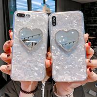 espelho de maquiagem coração venda por atacado-Luxo Jeweled Coração Forma de Telefone Espelho Caso Para Iphone XMAX XS XS Maquiagem Voltar Shell Para Iphone8P 7 6 6 S Tampa Capas Fundas