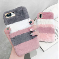 Wholesale rabbit fur note case online – custom Fashion Fluffy Mix Warm Rabbit Fur Silicon Phone Case For Apple iPhone XS MAX XR X S plus Gradient Back Cover