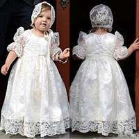 ingrosso battesimo bianco delle bambine-Principessa pizzo bianco Baby prima comunione Abiti Gor ragazze Toddler Dress Vestido Primera Comunion battesimo abiti Para Nina per bambino