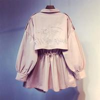 ingrosso trincee rosa femminile-2019 New Spring Manica lunga Rosa Medio Trench Cappotto Donna Soprabito Casual Capispalla Autunno Femminile Cappotto Giacca a vento Top R56