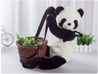 Wholesale Fluffy Throw Pillow Cushion Leaning on Hug Pillow Gift Cute Panda Backpack shoulder bag