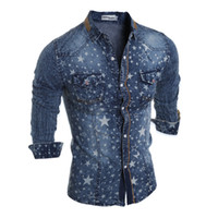 camisa larga denim al por mayor-Camisas de mezclilla para hombre Otoño Slim Stars Impreso cuello de solapa de manga larga para hombre Camisas casuales Moda masculina Lavado Tops