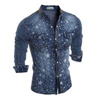 gündelik gömlek denim mens toptan satış-Denim Erkek Gömlek Sonbahar Ince Yıldız Baskılı Yaka Boyun Uzun Kollu Erkek Casual Gömlek Moda Erkek Yıkanmış Tops