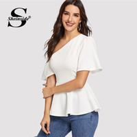 3d519113c98 wholesale Elegant Off Shoulder Flounce Hem Beige Top Women Summer  Asymmetrical Neck Trim Blouse 2019 Ladies Casual Solid