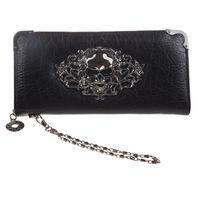 crânes portefeuille noir achat en gros de-Portefeuille Cool Retro Skull pour femme Vintage Clutch Bag Black