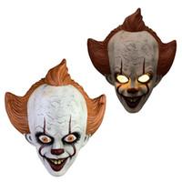 vollmaske silikon groihandel-Silikon-Film von Stephen King It 2 Joker Pennywise Maske Vollgesichts Horror Clown Latex Halloween-Party-Horrible Cosplay Prop Maske RRA2127 Maske